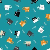 Pattern with cats and fish bones