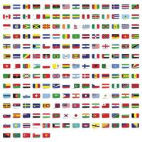 Rounded rectangle flags of the world collection vector