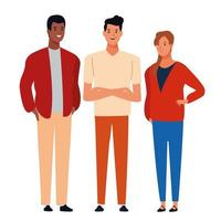 Group of diverse cartoon friends in casual clothes vector