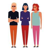 Group of standing cartoon friends vector