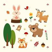 conjunto de elementos y animales del bosque