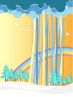 Monsoon season design in origami craft paper style vector