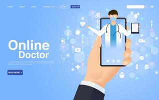 Online Doctor Landing page in Flat Style