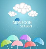Colorful umbrellas and clouds monsoon season banner vector