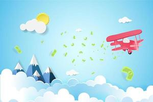 Plane flying in the sky with scattered money