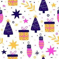 Colorful hand drawn christmas pattern vector