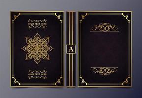 Luxury gold ornamental book cover design vector