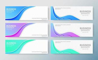 Set of modern business banners with waves vector