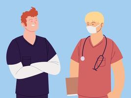 Portrait of male healthcare workers vector