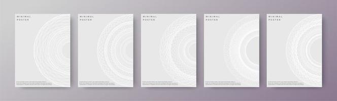 cubiertas abstractas geométricas en blanco vector
