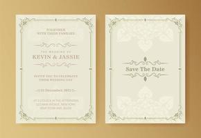 Retro wedding invitation on white background vector
