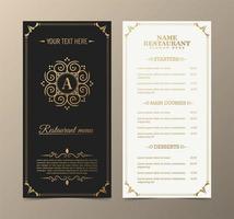 Menu restaurant with elegant ornamental style vector