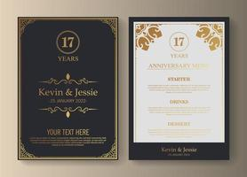 17th anniversary invitation and menu
