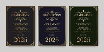 elegante plantilla de invitación de graduación con adornos vector