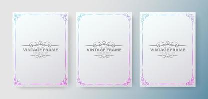 Gradient vintage ornamental frame collection vector