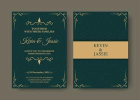 design de cartão de convite em verde e dourado estilo vintage