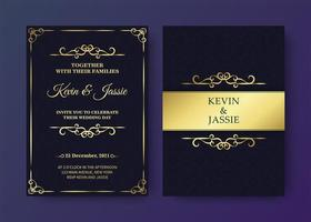 Luxury vintage black and gold invitation card template vector