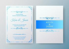 Luxury vintage white and blue invitation card template vector