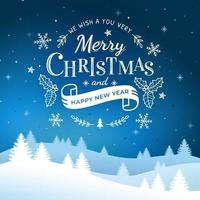 feliz navidad y próspero año nuevo letras vector