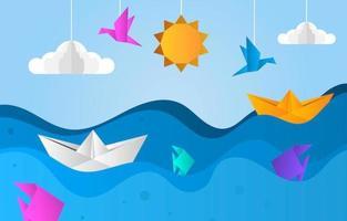 cenário do oceano em estilo papel de origami