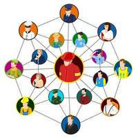 Network of professionals composition vector