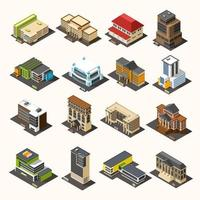 Isometric government building icon set vector