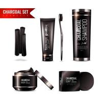 Charcoal cosmetics package set
