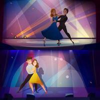 personajes de dibujos animados bailando conjunto de banner vector