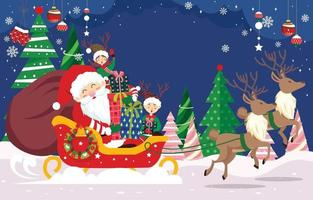 Santa with His Helpers Bring Christmas Gifts