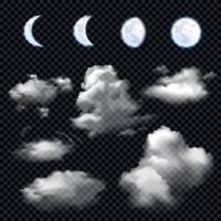 Transparent moon phases and clouds vector