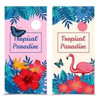 Tropical vertical banner set vector