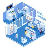 Isometric science lab interior