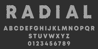 diseño radial de letras y números del alfabeto