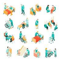 Isometric elderly people at nursing home set vector