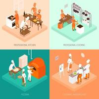 Isometric cooking and professional kitchen set