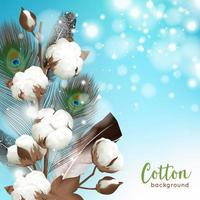 fondo de algodón realista con plumas