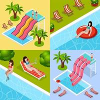 Isometric water park composition set vector