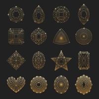 Gemstones line-art set vector