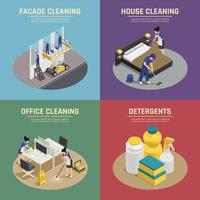 Isometric cleaning services composition set