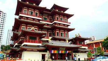 lapso de tempo: templo do dente de Buda na cidade de Singapura