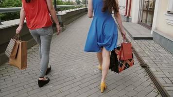 Dos amigas hermosa joven caminando con bolsas de compras, hablando divirtiéndose, vista posterior, tiro de cámara lenta
