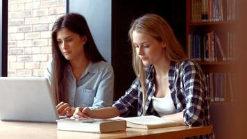 zwei Studenten arbeiten an einem Laptop