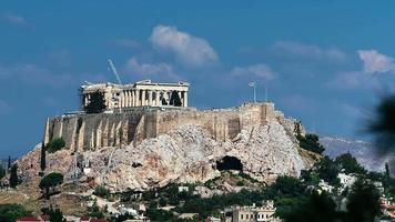 Resumen del partenón en la vista del movimiento de la colina de la acrópolis video