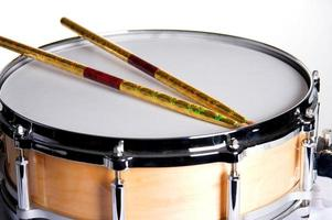 Natural Maple Snare Drum Isolated On White photo