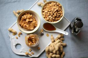 ingredients for baking cookies with peanut butter and maple syrup