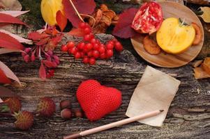 Fresh fruit maple autumn harvest vintage wooden background photo
