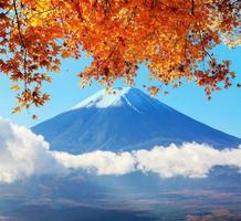 imagen de la montaña sagrada de fuji en el fondo