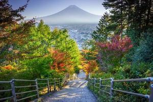 Stairway to Mt Fuji Fujiyoshida, Japan on an autumn day photo