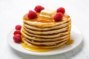 American Pancakes with Raspberries