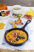 Healthy pumpkin baked oatmeal with banana photo